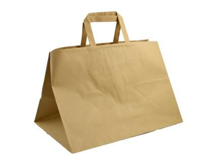 Shopper take away manico piattina sealing avana  personalizzabile